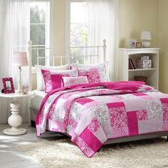 @Overstock - Mi-Zone May Pink 4-piece Coverlet Set - This Mi-Zone May coverlet set gives the look of a beautiful pieced quilt without the heavy price tag. This unique design uses plaid, floral, polka dot, paisleys and solid squares all printed on polyester microfiber for easy care.  http://www.overstock.com/Bedding-Bath/Mi-Zone-May-Pink-4-piece-Coverlet-Set/9148209/product.html?CID=214117 $64.99