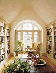 Garden, Home and Party: wingback chair, cream walls, bookshelves with lights