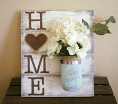 Mason Jar Wood Wall Hanging Home Sign Home Decor Distressed Hand Painted Wall Decor Vase Decor Rustic Shabby Chic Country Chic Mason Jar Projects, Mason Jar Crafts, Diy Projects, Fall Mason Jars, Pallet Projects, Home Crafts, Crafts To Make, Easy Crafts, Easy Diy