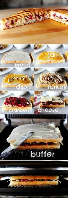 After Thanksgiving: turkey and cranberries sandwich
