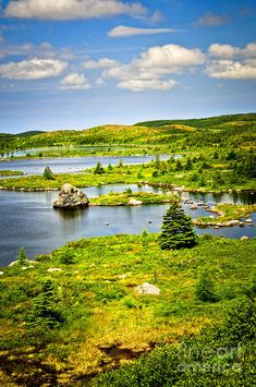 Newfoundland Landscape, Scenic lake shore and hillside in Newfoundland, Canada. Places Around The World, Oh The Places You'll Go, Places To Visit, Around The Worlds, What A Wonderful World, Wonderful Places, Beautiful Places, Amazing Places, Newfoundland Canada
