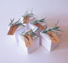 Set of 5 Rustic Favor boxes with greenery and a thank you tag, Wedding Favor, Birthday Favor, Bridal Shower Favor, Baby shower Favor