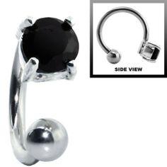Black CZ - 925 Sterling Silver Circular Barbell - 16 Gauge FreshTrends. $9.99