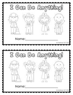 """Community Helpers Unit - Emergent Reader with Traceable Words! """"I Can Be Anything"""""""