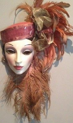 Clay Art Ceramic Face Wall Mask, with Feathers