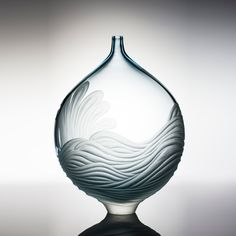 Ben Edols & Kathy Elliott, Surge Series - Steel Blue Bottle I, 2015, blown glass, wheel carved | sabbia gallery