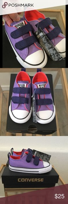 """Converse Frozen Lilac Shoes Adorbs! Velcro straps for easy """"on"""" and """"off"""". Brand new in box. Size 3 does not have a lid for the box. Converse Shoes Baby & Walker"""