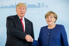 German Chancellor Angela Merkel (R) and US President Donald Trump  shake hands prior to a bilateral meeting on the eve of the G20 summit in Hamburg, northern Germany, on July 6, 2017.Leaders of the world's top economies will gather from July 7 to 8, 2017 in Germany for likely the stormiest G20 summit in years, with disagreements ranging from wars to climate change and global trade. / AFP PHOTO / POOL / Michael Kappeler        (Photo credit should read MICHAEL KAPPELER/AFP/Getty Images) via…
