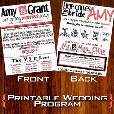Modern/Fun Wedding Program - DIY - Printable. $20.00, via Etsy.