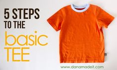 "TUTORIAL and FREE Pattern: 5 steps to the BASIC TEE Can't believe it's this easy to make a ribbed neck for a t-shirt. Never throwing away an old scrapped t-shirt neckline again. Commence project ""new t-shirt wardrobe for the children!"""