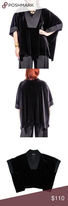 """ALEMBIKA L / XL Black Velvet Daniela Poncho Size - L/XL  This black velvet poncho tunic from ALEMBIKA is in absolutely excellent condition. It features an oversized fit, and contrast black knit material at the neckline and sleeve opening. Side slit seams. Style is called Daniela Poncho. Made of a Poly and Elastane Blend  Measures: Bust: 88"""" Total Length: 28"""" Alembika Tops"""