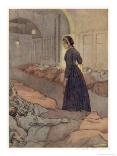 In Scutari Florence Nightingale Checks Patients During the Night Giclee Print by M.v. Wheelhouse at AllPosters.com