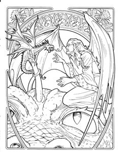 Fantasy coloring page --> If you're looking for the top-rated adult coloring books and supplies including colored pencils, drawing markers, gel pens and watercolors, check out our website at http://ColoringToolkit.com. Color... Relax... Chill.