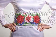 Атласный белый женский пояс ПС-361Б Лилеи, розы, незабудки