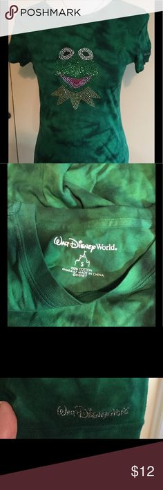 Disney World ladies size S Kermit the Frog  tshirt Disney World ladies size Small Jeweled Kermit the Frog t shirt - green tie dye.  Simply adorable!!! Disney Tops Tees - Short Sleeve