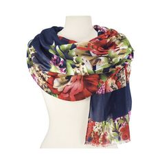 Natures Jewelry Midnight Garden Scarf featuring polyvore, women's fashion, accessories, scarves, natures jewelry, viscose scarves, holiday scarves and evening shawl