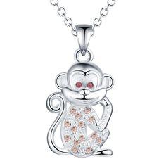 Cheap 2016 Caliente mono del zodiaco collar colgante de plata con circón joyería…