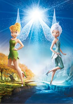 Tinkerbell wanders into the forbidden Winter woods and meets Periwinkle. Together they learn the secret of their wings and try to unite the warm fairies and the winter fairies to help Pixie Hollow. Tinkerbell And Friends, Tinkerbell Disney, Peter Pan And Tinkerbell, Tinkerbell Fairies, Disney Fairies, Disney Magic, Tinkerbell Movies, Tattoo Tinkerbell, Tinkerbell Characters