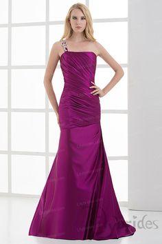 Sheath/Column One-shoulder Stretch Satin Appliques Sweep/Brush Train Evening Dress