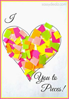 Heart I love You to Pieces Valentines day craft for kids! Cute DIY Valentine card idea | CraftyMorning.com