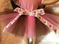 American Girl Pink and Brown Tulle Tutu Skirt / Milk and Cookies Ribbon Tutu Skirt / Brown & Pink Tutu Fits 15 inch and 18 inch dolls by mydollydreamboutique on Etsy