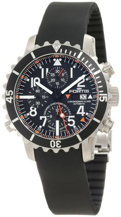Fortis Men's 673.10.41K B-42 Marinemaster Automatic Chronograph Black Dial Watch: Watches: Amazon.com #fortis #watch