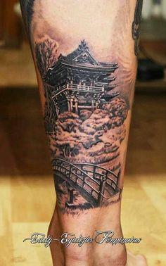 Japanese Temple Tattoo, Japanese Tattoo Art, Japanese Tattoo Designs, Japanese Sleeve Tattoos, Buddha Tattoos, Forearm Tattoos, Body Art Tattoos, Print Tattoos, Baby Tattoos