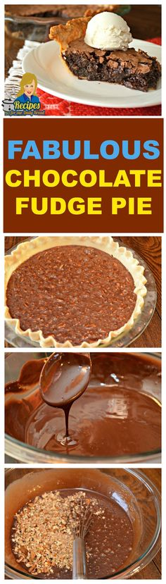 YOU HAVE TO TRY THIS FABULOUS CHOCOLATE FUDGE PIE This Fudge Pie is not a Chocolate Pie, and it is not a Brownie Pie.  It is the best gooey Chocolate Fudge Pie with Pecans ever.  I am going to teach you how to make this easy fudge pie.  SEE Full Recipe: http://recipesforourdailybread.com/best-chocolate-fudge-pie-yum/