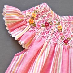 coquito smocked baby dress - marcel ~ Shades of Pink  stripes smocked in darker shades which stand out ~