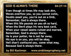 Poetry - Bible-based Christian Poem by Bill Kochman: God is Always There