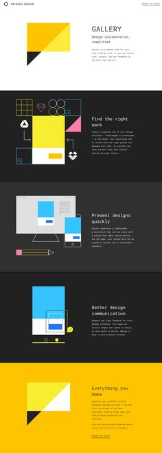 Neat infographic animations in this launching soon page announcing 'Gallery' - the new collaborative tool by Material Design.