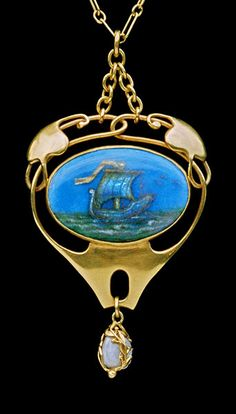 This is not contemporary - image from a gallery of vintage and/or antique objects. MURRLE BENNETT & Co Arts & Crafts Pendant Gold Enamel Pearl