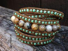 Wrap Around River Stone Beaded Bracelet by salmoninthebeak on Etsy, $65.00