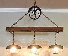 Chicken Feeder Light Fixture This is a custom 3 light pendant with a pulley and three chicken feeder Cabin Lighting, Farmhouse Lighting, Rustic Lighting, Lighting Ideas, Farmhouse Sinks, Track Lighting, Jar Lights, Room Lights, Pulley Light