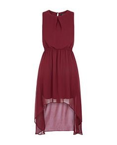Dark Red (Red) Teens Burgundy Key Hole Back Chiffon Dip Hem Dress  | 309914561 | New Look