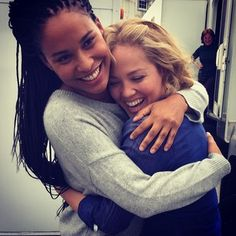 """When TV sisters-in-law Bryant and Christensen gave each other one last on-set hug.   18 Moments From The Last Day Of Filming """"Parenthood"""" That Will Make You Cry"""