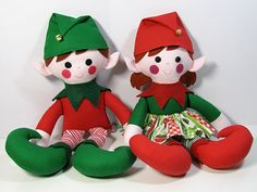 Elf Twins Christmas Doll Sewing Pattern PDF by FunkyFriendsFactory