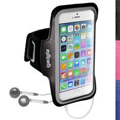 """iGadgitz Reflective Anti-Slip Black Sports Jogging Gym Armband for Apple iPhone 6 & 6S 4.7"""" with Key Slot"""