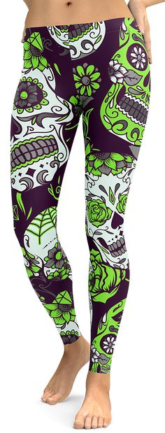 Lime Green Sugar Skull Leggings - GearBunch Leggings / Yoga Pants