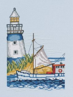 Lighthouse and Sailing Boat Cross Stitch Kit