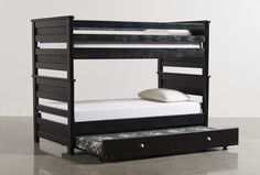 Summit Black Full/Full Bunk Bed W/Trundle W/Mattress - Signature