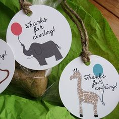 Zoo Animals Favor or Gift Tags, Set of 12 by RiverDog Prints.