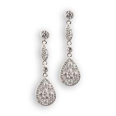 Nadri Lux Beauty Linear Drop Earrings #VonMaur #SilverandWhite