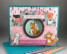 Envelope Punch Board, Hug You, Simon Says Stamp, Frame It, My Scrapbook, Lawn Fawn, Pattern Paper, Iris, Card Stock