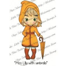 Miss Lilly  with umbrella Digital stamp from Little Blue Button Stamps November 2103 release