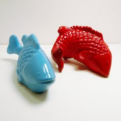 ceramic fish figurines  //  turquoise red aqua blue  // by nashpop, $24.00