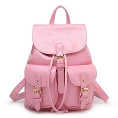 2016 New Women Leather Backpacks Bolsas Mochila Feminina Large Girls Schoolbag Travel Bag Solid Candy Color Rucksack Lace Backpack, Vintage Leather Backpack, Black Leather Backpack, Backpack Bags, Pu Leather, Leather Backpacks, Duffle Bags, Messenger Bags, Travel Backpack