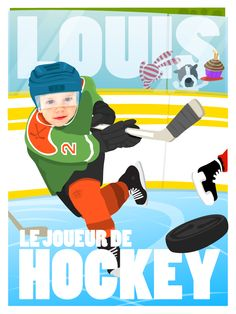 A hockey themed birthday poster for my son Louis on his birthday. Get in touch for your own custom birthday poster! Illustrations, Photo Illustration, Cartoon Posters, Artists For Kids, Custom Photo, 2nd Birthday, Special Occasion, Sons, Birthdays