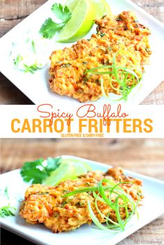 Spicy Buffalo Carrot Fritters {Gluten Free, Dairy Free} - The Fit Foodie Mama Low Carb Side Dishes, Healthy Side Dishes, Side Dishes Easy, Side Dish Recipes, Veggie Dishes, Best Vegetarian Recipes, Healthy Gluten Free Recipes, Clean Recipes, Drink Recipes