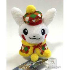 Pokemon Center 2015 Christmas Illumination Campaign Pikachu Snowman Mascot Plush Keychain (Femal Version With Coat)